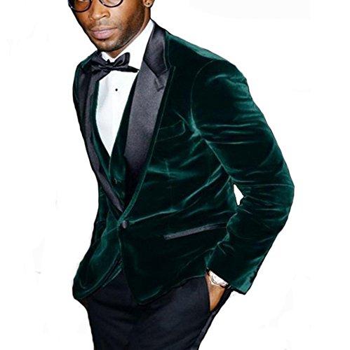BOwith Groomsmen Peak Black Lapel Groom Tuxedos Green Velvet Men Suits (Jacket+Pants+Tie+Vest) -