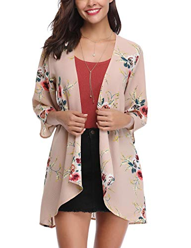 Aibrou Women's Cardigan Sheer Kimono Loose Summer Floral Print Chiffon Cover Ups Pink