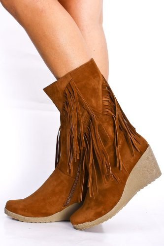 Amazon.com | Women's Faux Suede Fringe Trim Midcalf Wedge Boots in ...