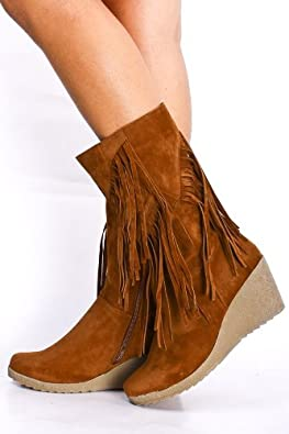 Amazon.com | Women\'s Faux Suede Fringe Trim Midcalf Wedge Boots in ...