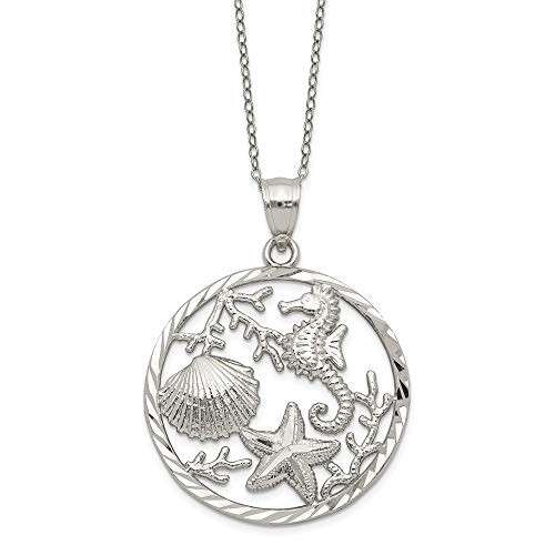 925 Sterling Silver Seahorse Starfish Sea Shell Mermaid Nautical Jewelry Pendant Charm Necklace Shore Life Fine Jewelry Gifts For Women For Her]()