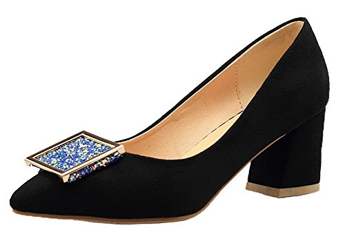 Imitated Closed Kitten Suede Solid Womens AmoonyFashion Toe Pumps Black Shoes Heels qnwZ4nSO