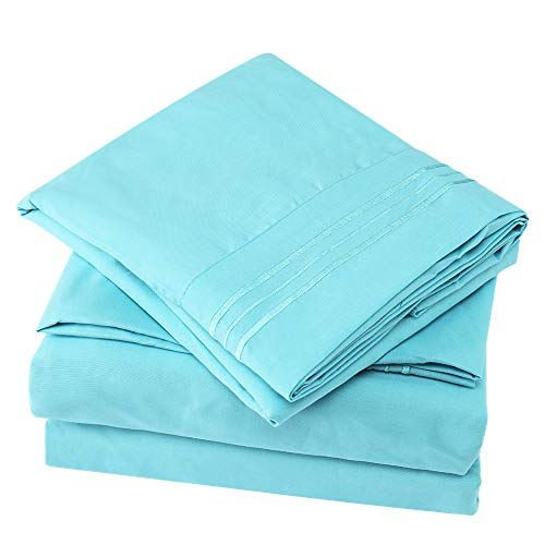 Bonzy Home 6 Piece Bed Sheet Set 1800 Bedding 100% Microfiber- Deep Pocket, Hypoallergenic, Breathable, Cooling-Wrinkle and Fade Resistant Bedding Set Cal-King Baby Blue