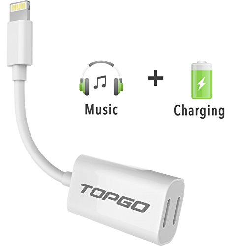 iPhone 7 Splitter & Lightning Splitter iPhone 7 Adapter Dual Lightning Adapter Headphone Jack Audio and Charge Cable Adapter for iPhone 7 / 7 Plus (Support iOS 10.3 and later)TOPGO – White