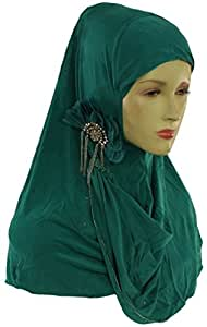 Girls One Piece Flower Hijab Scarf - Aqua Green
