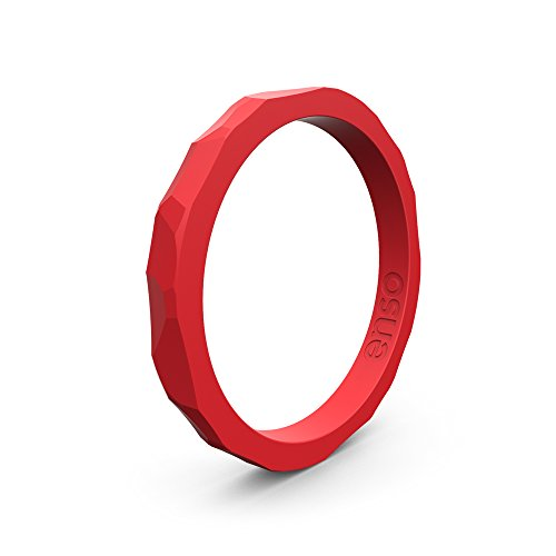 Enso Silicone Ring/Wedding Band. Hammered Design for Men and Women Color: Red. Size: 8 ()