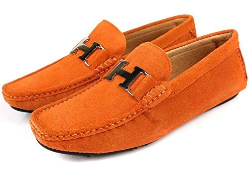Santimon Heren Lederen Instapper Toevallige Gesp Loafer Rijden Heren Autoschoenen Moc Schoenen Oranje