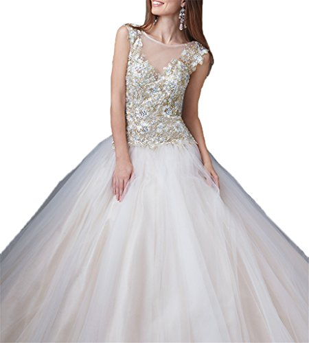 Dresses Beaded Long Sweet Nexk Off Sheer Quinceanera 16 White Women's Dexin twq8BB