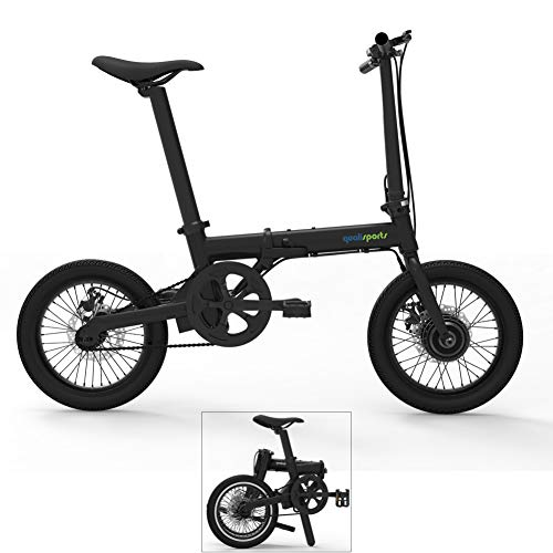 Bicycle Electric Hybrid - Qualisports 16in Hybrid Electric Mountain Bike Mini Foldable ebike with Fenders Lithium-ion Battery(36V 250W Hub Motor)+Disc Brakes+Folding Frame+Multi-Function LCD (Black)