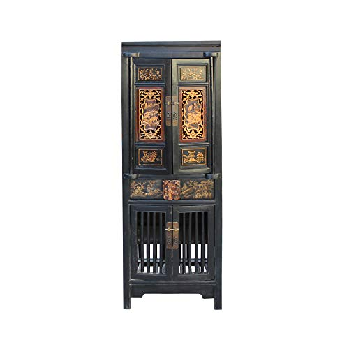 Chinese Black Golden Carving Narrow Wood Storage Wardrobe Hutch Cabinet Acs4563 from A Large Cabinet