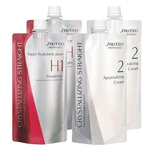 Shiseido Professional Crystallizing Hair Straightener (H1) + Neutralizing Emulsion (2) Hair Rebonding for Resistant to Natural Hair x 2 Sets