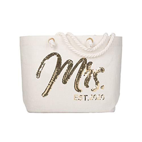 Wedding Gift Bags Ideas (ElegantPark Future Mrs. EST. 2020 Large Bride Tote Bag Personalized Wedding Bachelorette Bridal Shower Gifts Shoulder Bag Gold Sequin with Interior Pocket)