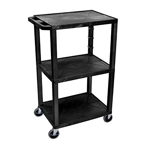 Luxor/H.Wilson 3 Shelf Tuffy Cart, Black (WT42) ()