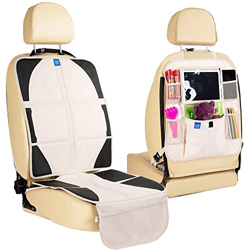 Funbliss Car Seat Protector + Kick Mat Auto Seat Back Protector Beige with Multi Pocket for Large Storage - Durable Quality Seat Covers + Waterproof Kick Guards