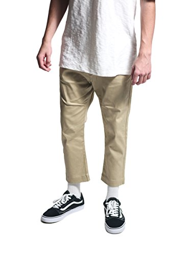 KDNK Men's Highwater Fit Stretch Twill Zipper Fly Drop Rise Chino Pants (30, Khaki)