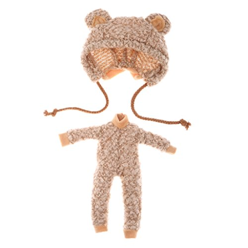 Jili Online 1/6 Lovely Bear Clothes Outfit with Hat Doll Dress for 12'' Blythe Doll Dress Up Clothes Accessories Kids