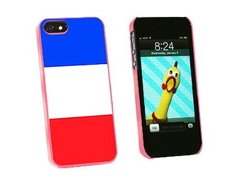 Graphics and More France Flag Snap-On Hard Protective Case for iPhone 5/5s - Non-Retail Packaging - Pink