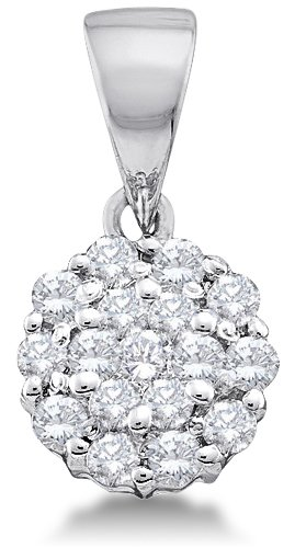 Diamond Flower Drop Necklace (14K White Gold Dangle Drop Flower Invisible Channel Set Round Diamond Pendant - (1/4 cttw))