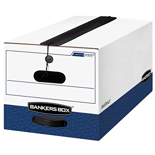 TableTop King 11111 Liberty Bankers Box 24 1/8'' x 12 1/4'' x 10 3/4'' White Letter File Storage Box with String & Button Closure - 12/Case