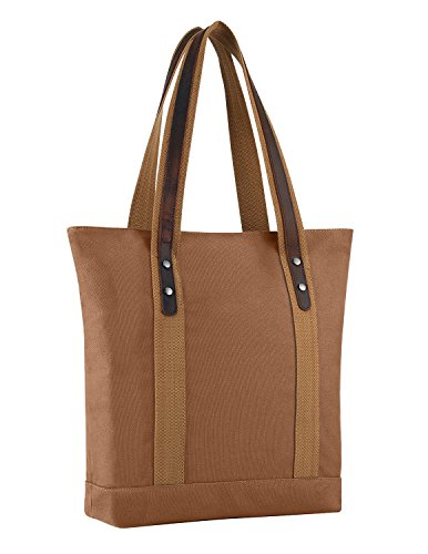 Plambag Canvas Genuine Leather Shopper Tote Retro Shoulder Bag(Brown) ()