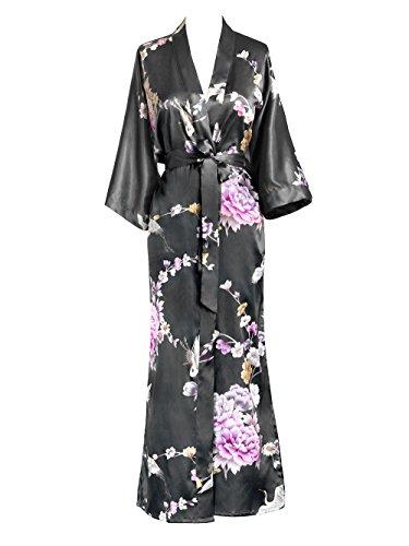 Jade Silk Shorts - KIM+ONO Women's Kimono Long Robe - Chrysanthemum & Crane - Gunmetal, One Size
