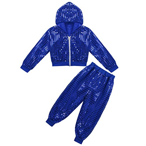 CHICTRY Kids Sequin Party Outfits Shiny Jackets&Pants Hip-hop Jazz Dancing Hooded Costumes Stage Performance Blue 5-6