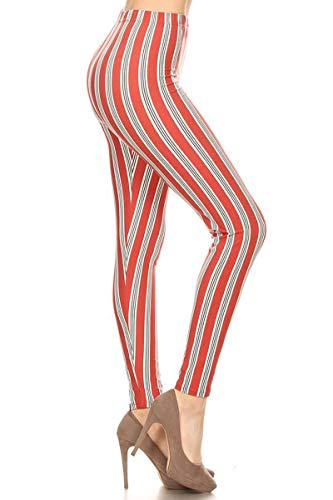 (S571-EXTRAPLUS Candy Cane Stripes Print Fashion Leggings)