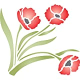 "Poppy Stencil - (size 6.5""w x 6""h) Reusable Wall Stencils for Painting - Best Quality Wall Border Flower Stencil Ideas - Use on Walls, Floors, Fabrics, Glass, Wood, Terracotta, and More…"