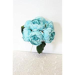 Sweet Home Deco 11'' Silk Peony Artificial Flower Bouquet Wedding/Home Decorations (10 Stems/7 Flower Heads) 34
