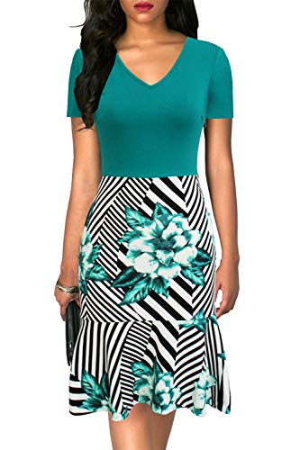Liyinxi Women's Sexy Short Sleeves V Neck Print Floral Ruffles Mermaid Club Party Summer Green Bodycon Dresses (L, 8028-Turquoise) ()