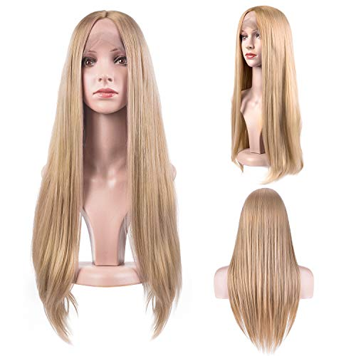 MelodySusie 27″ Light Blonde Lace Front Wigs Glueless Middle Part Long Straight Synthetic Hair Replacements Wig for Women Cosplay Party Halloween with 2 Free Wig Caps