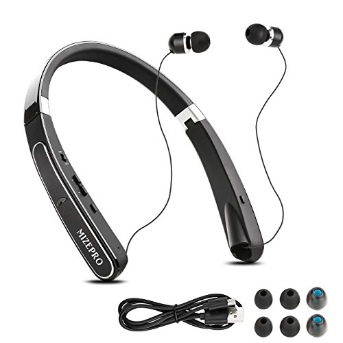 Foldable Wireless Headphones,Neckband Best Bluetooth Headphones HD Stereo In-Ear Earphones Sports Headsets (Bluetooth 4.1, Noise Cancelling, Sweatproof, 16 Hours Playtime) (Black)