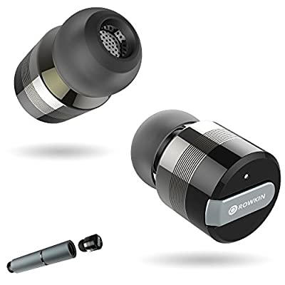 Rowkin Bit Stereo: True Wireless Earbuds w/ Charging Case. Bluetooth Headphones, Smallest Cordless Hands-Free In-Ear Mini Earphones Headsets w/ Mic & Noise Reduction for Android and iPhone.