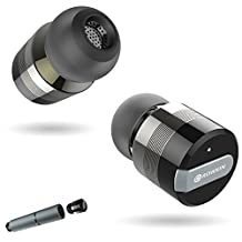 Rowkin Bit Stereo Bluetooth Headphones, Truly Wireless Earbuds with Mic. Smallest Cordless Hands-Free In-Ear Earphones Headsets with Portable Charger & Noise Reduction for Running and iPhone. (Space Gray)