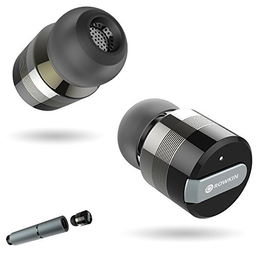 Rowkin Bit Stereo Bluetooth Headphones, True Wireless Earbuds w/ Mic. Smallest Cordless Hands-Free In-Ear Earphones Headsets with Portable Charger & Noise Reduction for Running & iPhone (Space Gray)