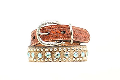 (Double Barrel Unisex Embellished Basketweave And Hair-On Hide Dog Collar Xs-Xl Tan)