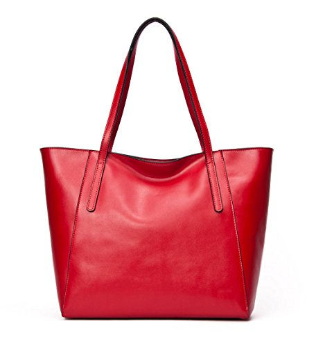 CHERRY CHICK Women's Genuine Leather Tote Bag Oversize Purse Shoulder Bag Ideal Gift (Red-9817) (Leather Bag Shoulder Tote)