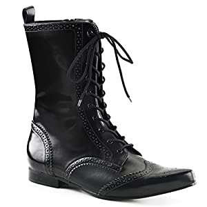 Mens Dress Boots Black Mid Calf Oxford Style Boots with Unique Detailing