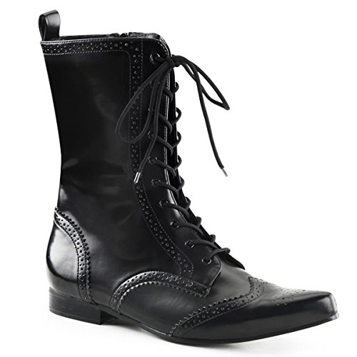 Mens Dress Boots Black Mid Calf Oxford Style Boots with Unique Detailing Size: 13 by Summitfashions
