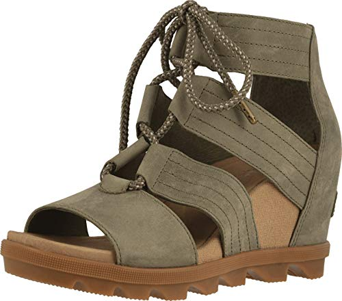 Wedge Ankle Lace - SOREL Women's Joanie II Lace Wedge Sandals, Sage, Green, 9.5 M US