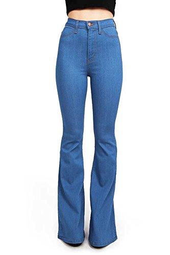 Vibrant Women's Juniors Bell Bottom High Waist Fitted Denim Jeans,Blue,5