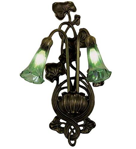 (Meyda Tiffany 17015 Green Pond Lily 2 Light Wall Sconce, 11
