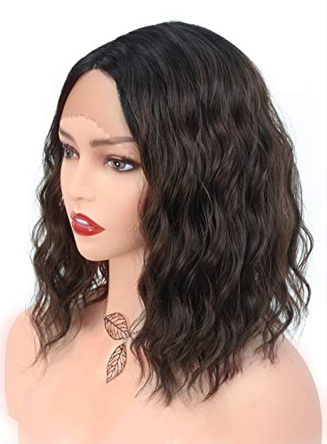 GG Dark Brown Lace Front Wig for Black White Women Curly Wavy Black Roots Ombre Brown Wig Short Bob Wigs Lace Front Quality Synthetic Fiber Medium Length (14 inch Brown)