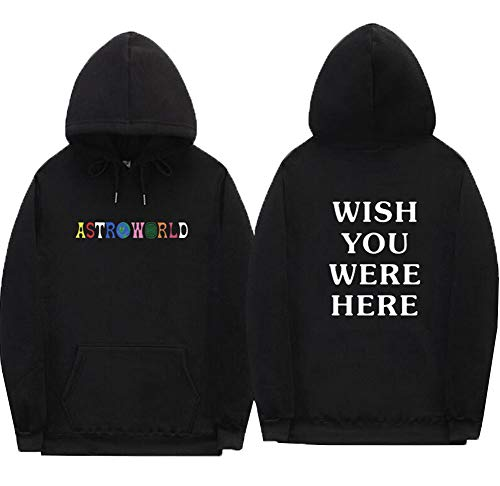 SQWT Unisex Astroworld Hoodie Top Sweatershirt Jacket Coat (XL, Black)