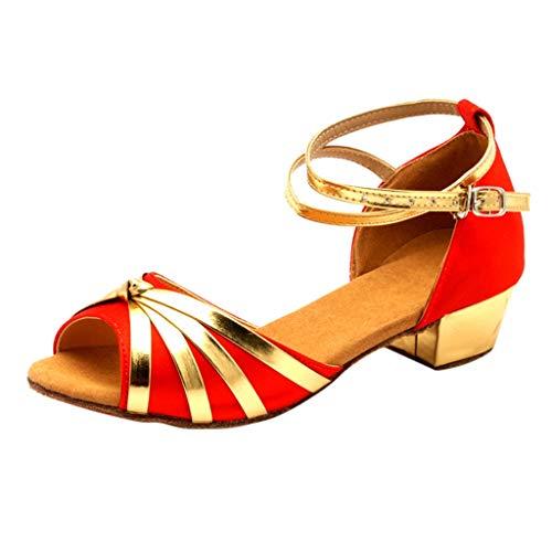 Xinantime Womens Dancing Rumba Waltz Prom Ballroom Latin Salsa Dance Shoes Sandals (Red,36)