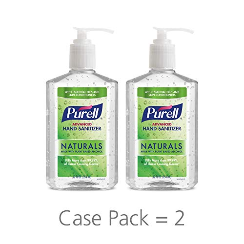 PURELL Advanced Hand Sanitizer Naturals with Plant Based Alcohol, Citrus Scent, 12 fl oz Pump Bottle (Pack of 2)- 9629-06-EC (Waterless Antimicrobial)
