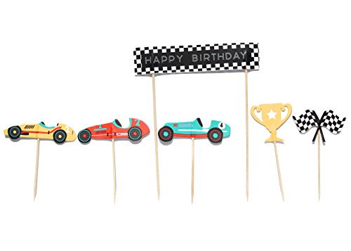 Vintage Race Car- Cupcake, Cake Toppers | 11 Pack | Checkered Flags, Trophy | Racing Car Decorations | Birthday | Baby Shower | Race Car Theme | Kids Party Decor | Dessert Topper | Food Pick ()