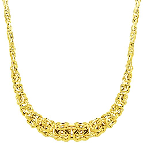 Just Gold Graduated Byzantine Links Necklace in 14K - Byzantine Necklace Graduated