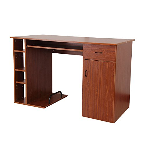 HomCom Small Home Office / Dorm Computer Desk - Dark Walnut