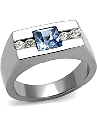 Men's Princess Cut Blue Montana & Clear Cz Silver Stainless Steel Ring Band Size 8-13